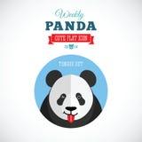 Значок еженедельной панды милый плоский животный - язык вне Стоковые Изображения