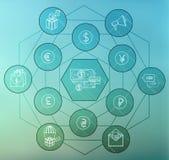 Значок денег плоский установил для сети и передвижного применения Стоковые Изображения RF