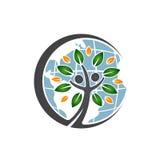Значок дерева людей глобуса Стоковое Фото