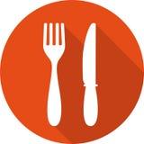 Значок еды Значок обеда значок вилки и ножа обед иллюстрация вектора