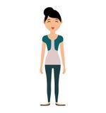 Значок женщины шаржа Дизайн персоны по мере того как вектор свирли предпосылки декоративный графический стилизованный развевает иллюстрация штока