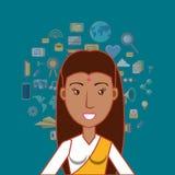 Значок женщины шаржа бесплатная иллюстрация