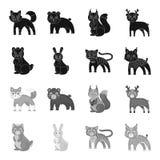 Значок животных, отечественных, одичалых и другого сети в черном, monochrome стиле Зоопарк, игрушки, дети, значки в собрании комп Стоковое Изображение RF