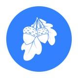 Значок жолудей в черном стиле изолированный на белой предпосылке Канадская иллюстрация вектора запаса символа официальный праздни бесплатная иллюстрация