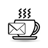 Значок завтрака кофе чашки электронной почты Стоковые Изображения RF