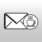 Значок завтрака кофе чашки электронной почты Стоковое фото RF