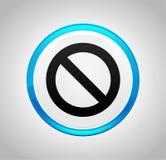 Значок запрета вокруг голубой кнопки иллюстрация вектора