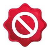 Значок запрета туманный поднял красная кнопка стикера starburst иллюстрация штока