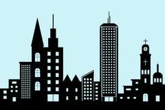 Значок здания городского пейзажа черный архитектурноакустический конструируйте стиль силуэта плоский на голубом векторе иллюстрац иллюстрация вектора