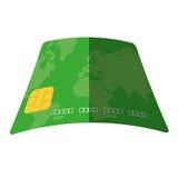 значок зеленой сделки банка оплаты кредитной карточки плоский Стоковая Фотография
