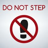 Значок знака ботинка подошв отпечатка Символ печати ботинка Не шагните Красный знак запрета остановите символ Стоковые Фото