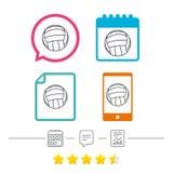Значок знака волейбола Символ спорта пляжа Стоковая Фотография