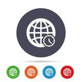 Значок знака времени мира Символ всемирного времени иллюстрация штока