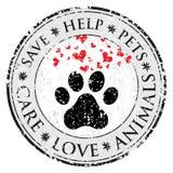 Значок знака влюбленности сердца лапки собаки Pets текстурированная символом кнопка сети Штемпель столба Grunge вектора Знамя или бесплатная иллюстрация