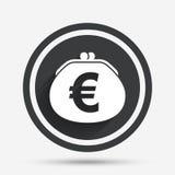 Значок знака евро бумажника Символ сумки наличных денег бесплатная иллюстрация