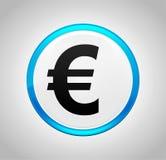 Значок знака евро вокруг голубой кнопки иллюстрация штока