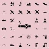 значок знака запрета куря Комплект значков авиапорта всеобщий для сети и черни иллюстрация вектора