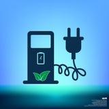 Значок знака зарядной станции электрического автомобиля Стоковое фото RF