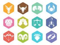 Значок знака зодиака на дизайне вектора шестиугольника установленном Стоковая Фотография