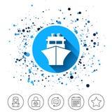 Значок знака корабля или шлюпки Символ поставки доставки Стоковое Фото