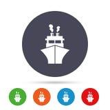 Значок знака корабля или шлюпки Символ поставки доставки Стоковые Изображения RF