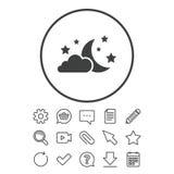 Значок знака луны, облаков и звезд мечтает символ Стоковая Фотография