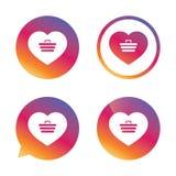 Значок знака магазинной тележкаи влюбленности Онлайн приобретение иллюстрация вектора