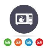 Значок знака микроволновой печи Плита кухни электрическая Стоковое Изображение