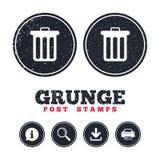 Значок знака мусорной корзины Символ ящика Стоковая Фотография