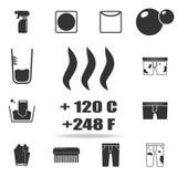 значок знака мытья в условиях высоких температур Детальный комплект значков прачечной Наградной качественный графический дизайн О иллюстрация вектора