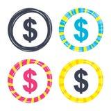 значок знака доллара USD символа валюты Стоковые Изображения RF