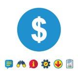 значок знака доллара USD символа валюты Стоковое Изображение RF