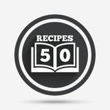 Значок знака поваренной книги Символ книги 50 рецептов Стоковое Изображение