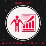 Значок знака представления Человек стоя с указателем около infographic Стоковое фото RF