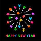 Значок знака ракет фейерверков, счастливый Новый Год Стоковое Фото