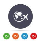 Значок знака самолета Символ отключения перемещения Стоковое Изображение RF