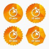 Значок знака таймера символ секундомера 15 минут Стоковое Изображение