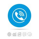 Значок знака телефона Символ поддержки звонка Стоковые Изображения RF