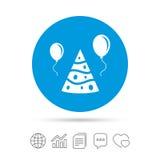 Значок знака шляпы партии Символ торжества дня рождения иллюстрация штока