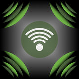 Значок знака Wifi на светлой волнистой предпосылке кривой Стоковое Фото