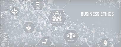 Значок знамени сети деловой этики установленный с честностью, целостностью, Com иллюстрация штока