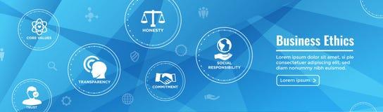 Значок знамени сети деловой этики установленный с честностью, целостностью, Com иллюстрация вектора