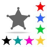 Значок значка шерифа Элементы в multi покрашенных значках для передвижных apps концепции и сети Значки для дизайна и развития веб иллюстрация вектора