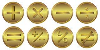 значок золота калькулятора 8 символов иллюстрация вектора