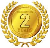Значок золота торжества годовщины Стоковые Изображения