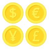 Значок золотой монетки фунта иен евро доллара плоский иллюстрация вектора