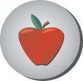 Значок зрелого сочного красного яблока в стиле плоском на серой предпосылке Стоковая Фотография