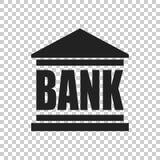 Значок здания банка в плоском стиле Иллюстрация вектора на изоляте Стоковая Фотография