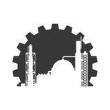 Значок здания завода Дизайн индустрии по мере того как вектор свирли предпосылки декоративный графический стилизованный развевает Стоковая Фотография