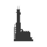 Значок здания завода Дизайн индустрии по мере того как вектор свирли предпосылки декоративный графический стилизованный развевает Стоковая Фотография RF